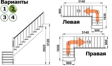 Лестница  К-002м/2  Л  сосна (5 уп)