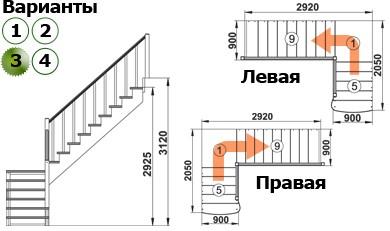 Лестница  К-002м/3  П  сосна с подступенками (6 уп)